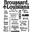 Broussard, Louisiana, Collage Souvenir Kitchen Tea Towel Design