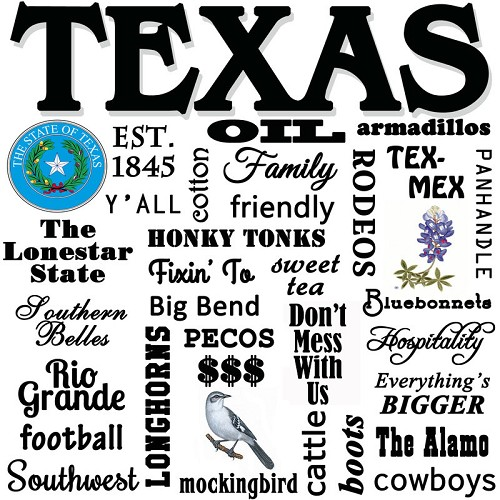 State of Texas, Souvenir Home Decor Gift Tile Design