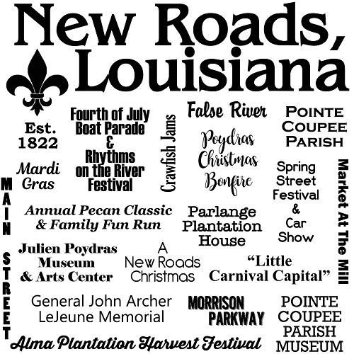 New Roads, Louisiana, Souvenir Home Decor Gift Tile Design
